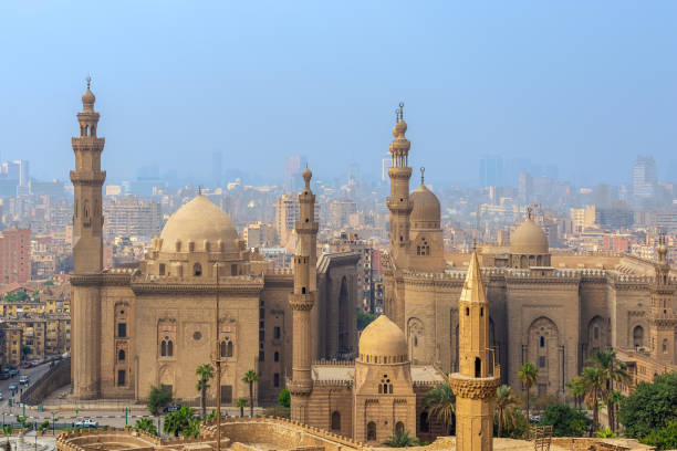 Aerial view of Cairo city from Cairo Citadel with Al Sultan Hassan and Al Rifai Mosques, Cairo, Egypt stock photo