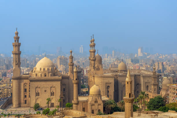 Aerial view of Cairo city from Salah Al Deen Citadel with Al Sultan Hassan and Al Rifai Mosques, Cairo, Egypt stock photo