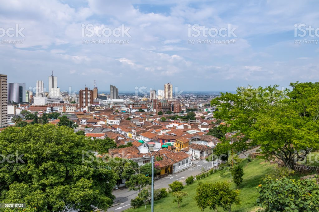 Aerial view of Cali city - Cali, Colombia stock photo