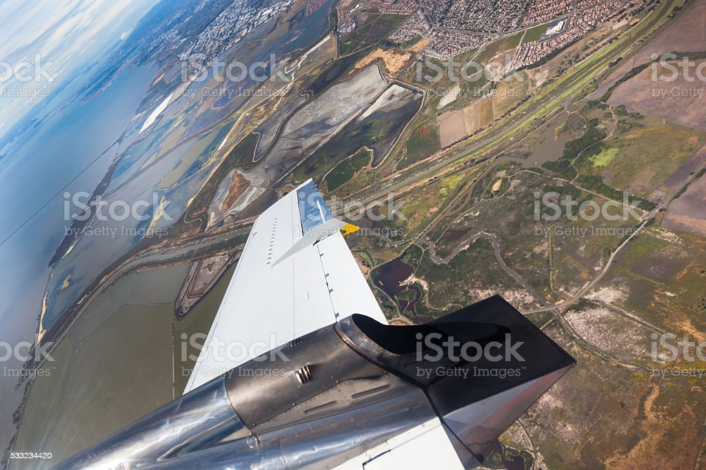 Aerial view of California out of plane. stock photo