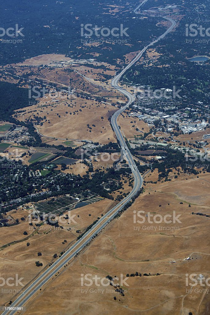 Aerial view of Californian highway road royalty-free stock photo