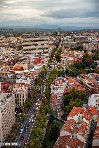 Madrid, Spain  - October 30, 2019: aerial view of Calle de la princesa street, arco de la concordia and faro de la moncloa viewpoint in Madrid