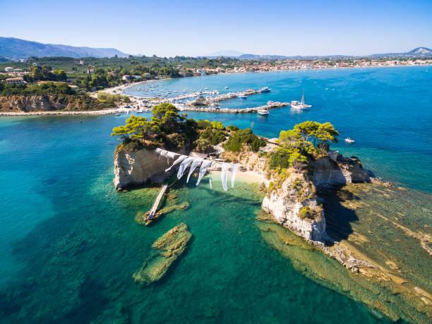 Aerial view of Cameo Island in Zakynthos (Zante) island, in Greece stock photo