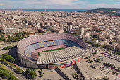 Spain, Barcelona, October 2018 - aerial view of Camp Nou, home stadium of FC Barcelona