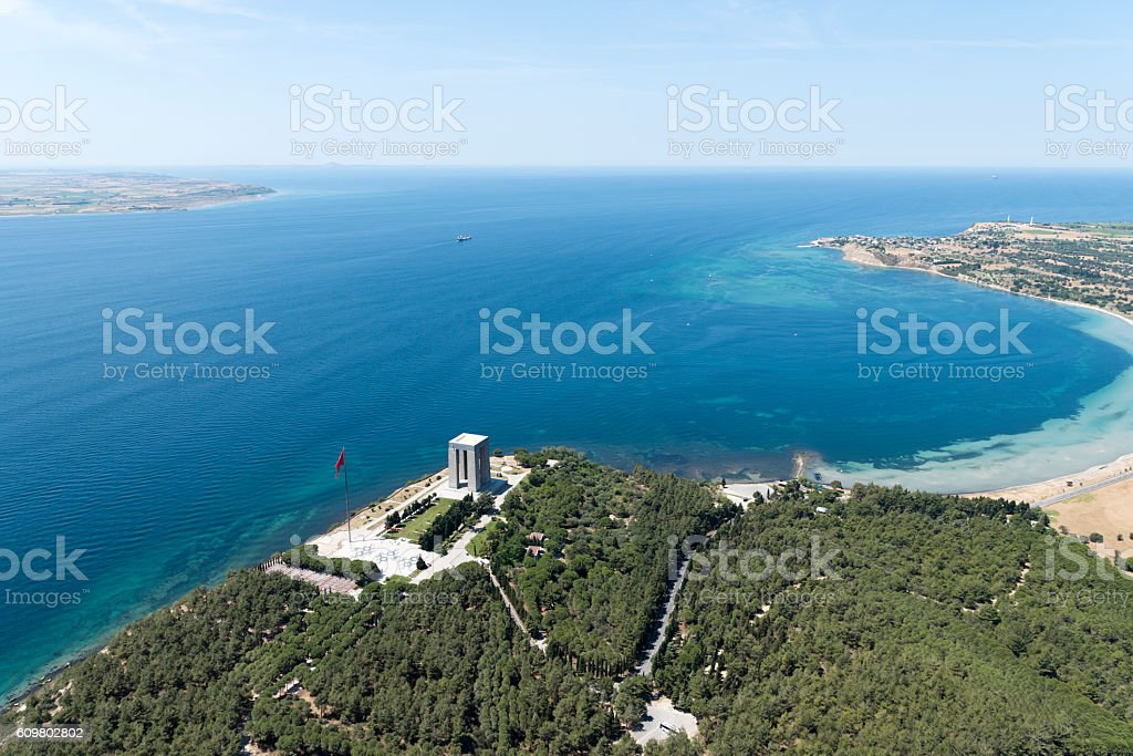 Aerial View of Canakkale Martyrs' Memorial, Turkey stock photo