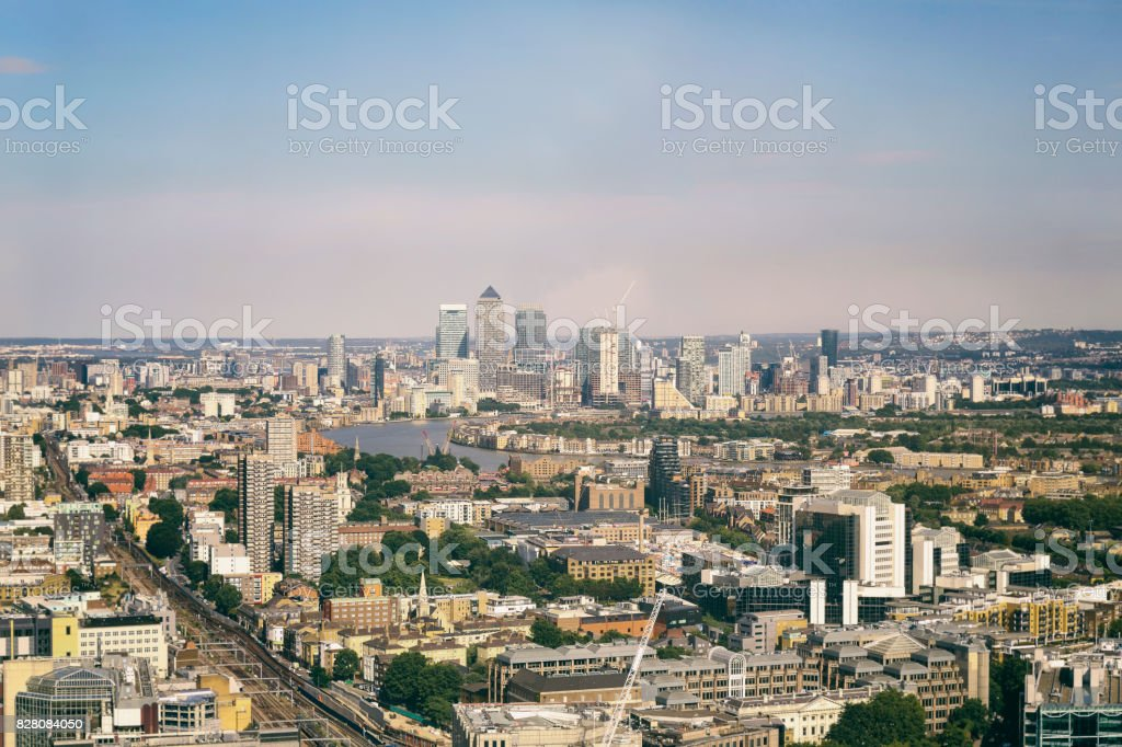 Aerial view of Canary Wharf skyline in London at day stock photo