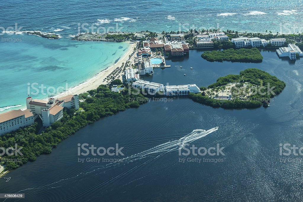 Aerial view of Cancun beach and hotel stock photo