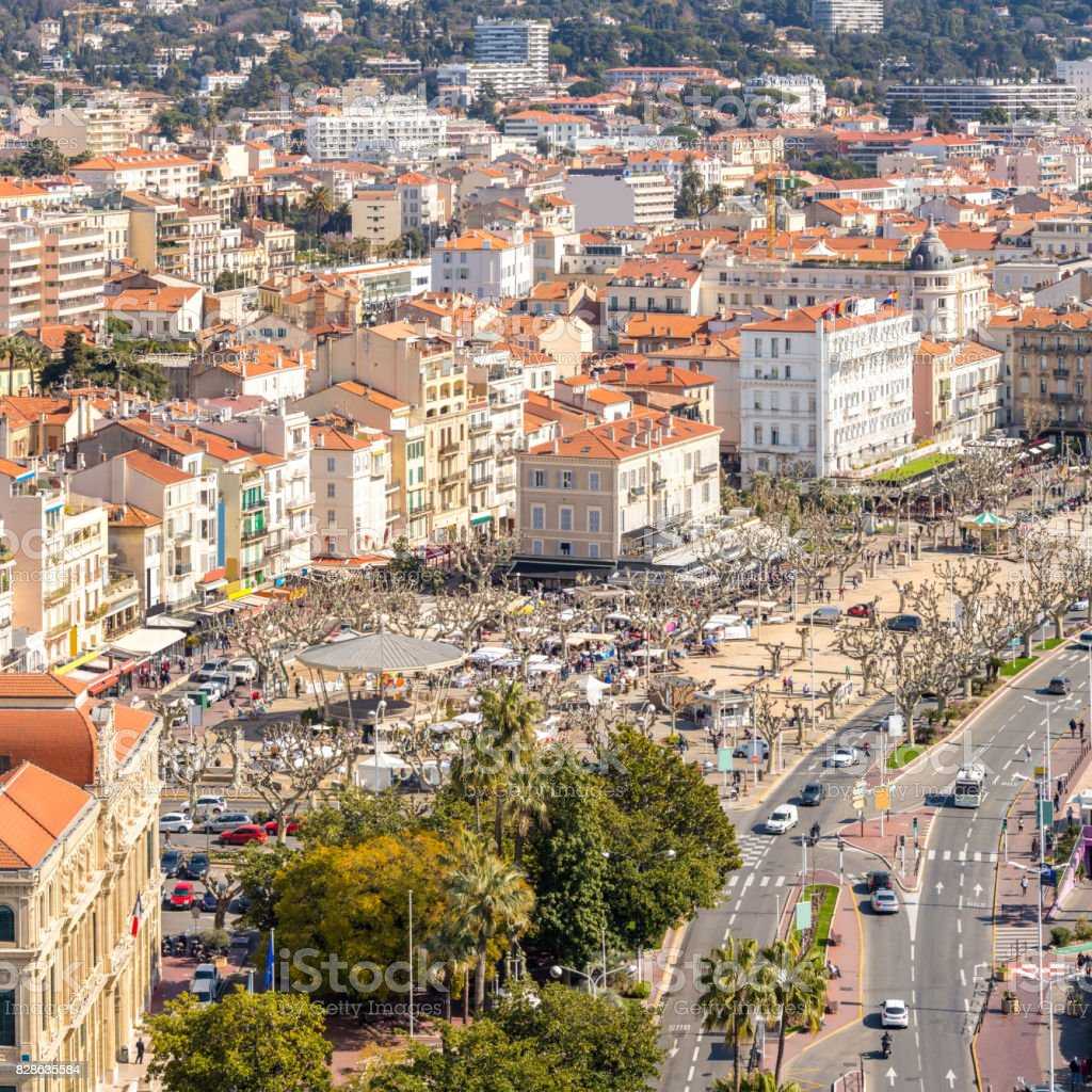 aerial view of Cannes France stock photo