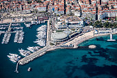 Panoramic aerial view of Cannes, France.