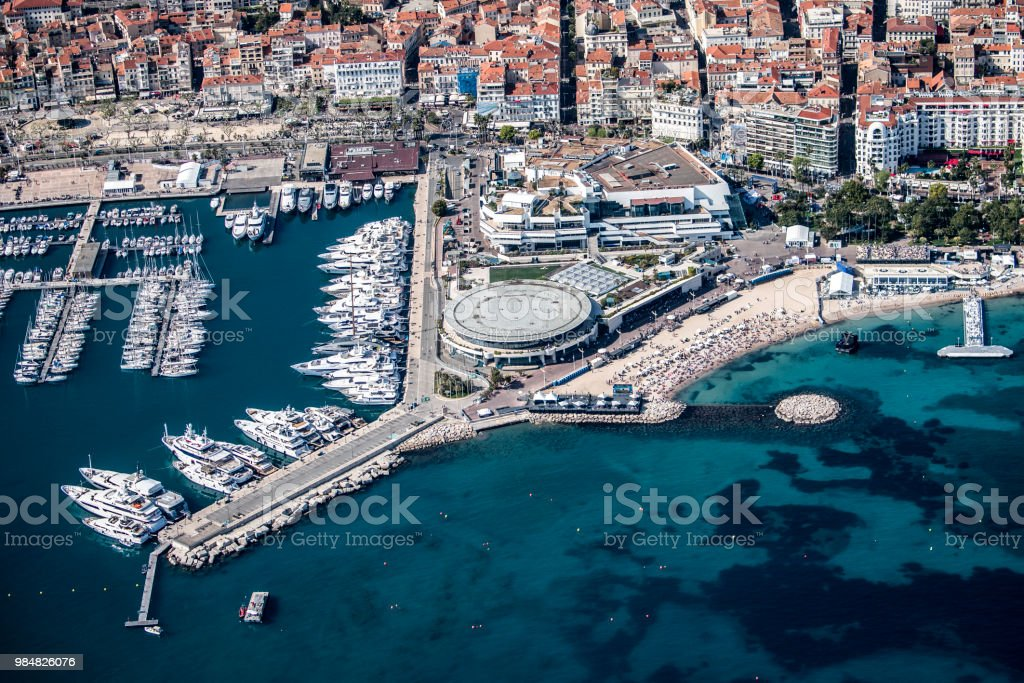 Aerial view of Cannes stock photo