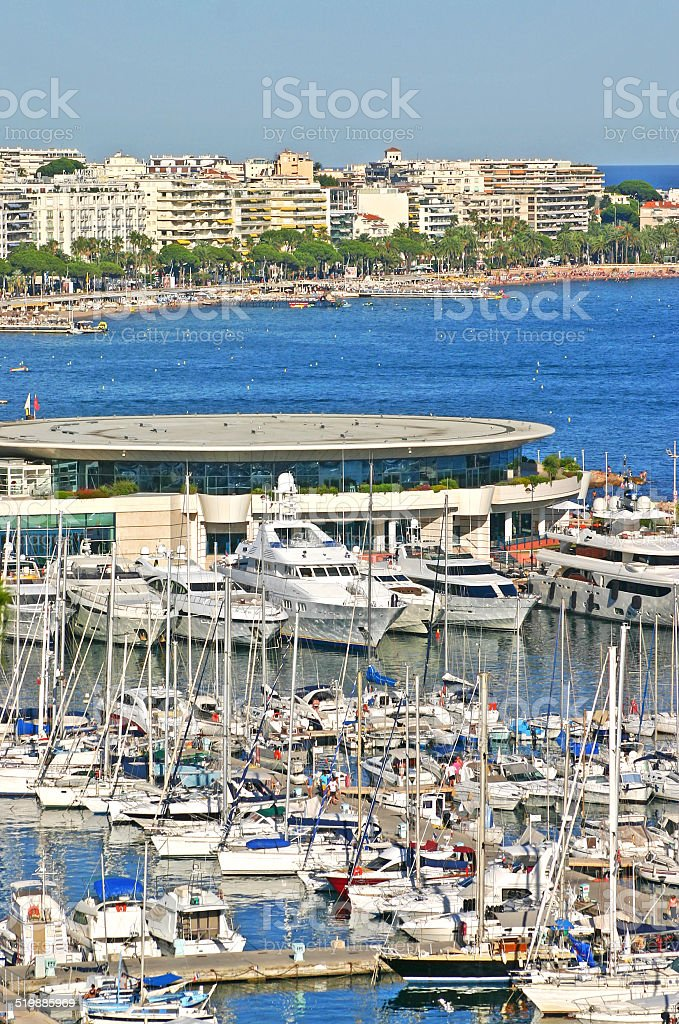 Aerial view of Cannes, South of France stock photo