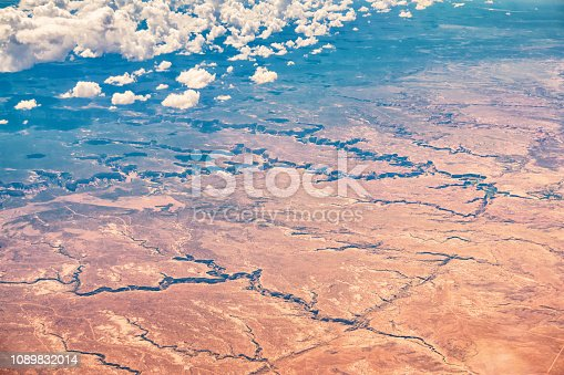 Aerial view of the landmark Canyon de Chelly National Monument in Arizona USA on a sunny day.