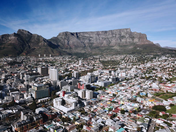 aerial view of cape town city bowl - table mountain national park stock pictures, royalty-free photos & images