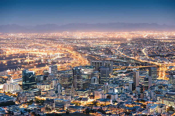 Aerial view of Cape Town from Signal Hill after sunset stock photo