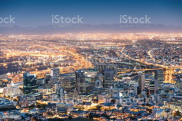 Photo of Aerial view of Cape Town from Signal Hill after sunset