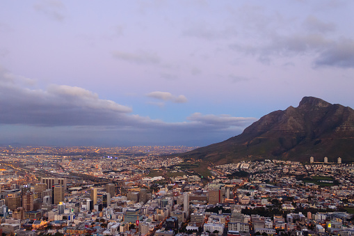 Aerial view of Cape Town from Signal Hill, South Africa