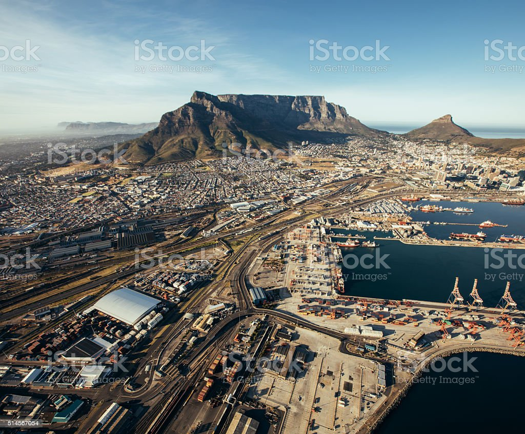 Aerial view of cape town harbor stock photo