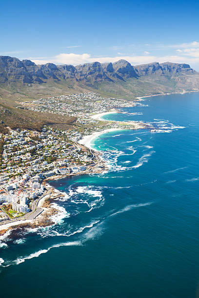 aerial view of cape town - table mountain national park stock pictures, royalty-free photos & images