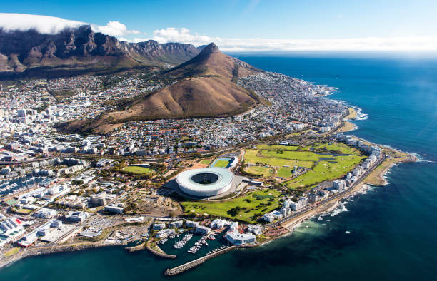 aerial view of cape town - south stock photos and pictures