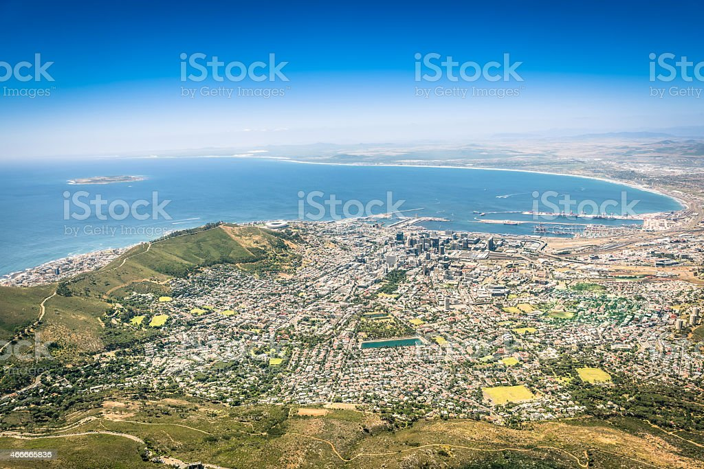 Aerial view of Cape Town skyline from Table Mountain stock photo