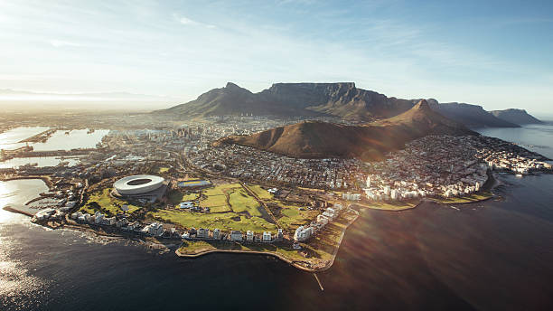aerial view of cape town, south africa - cape peninsula stock pictures, royalty-free photos & images