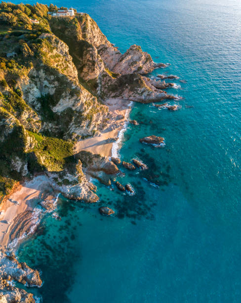 Aerial view of Capo Vaticano, Calabria, Italy. Ricadi. Lighthouse. Coast of the Gods. Promontory of the Calabrian coast. Sunset stock photo