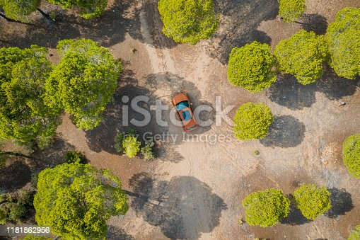 1061550162 istock photo Aerial view of car on winding forest road in wilderness 1181862956