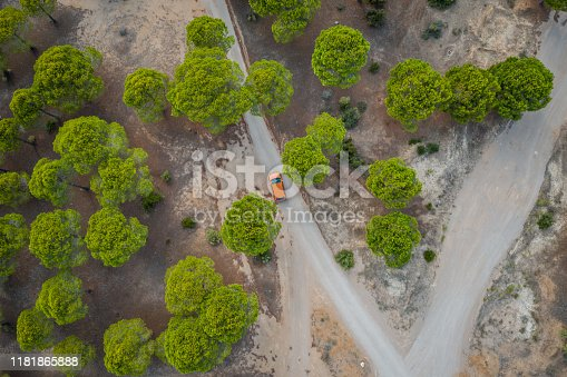 1061550162 istock photo Aerial view of car on winding forest road in wilderness 1181865888