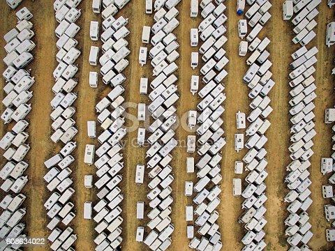 Aerial view of caravans