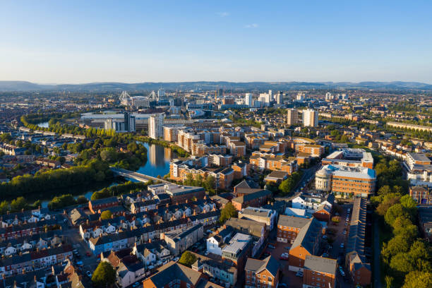 Aerial view of Cardiff Bay stock photo