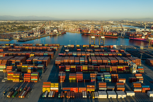 Aerial view of cargo containers in Long Beach port California USA