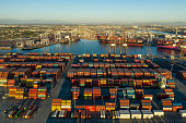 istock Aerial view of cargo containers in Long Beach port California 1297508422
