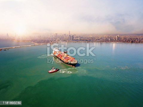 Aerial view of cargo ship in transit in Istanbul.