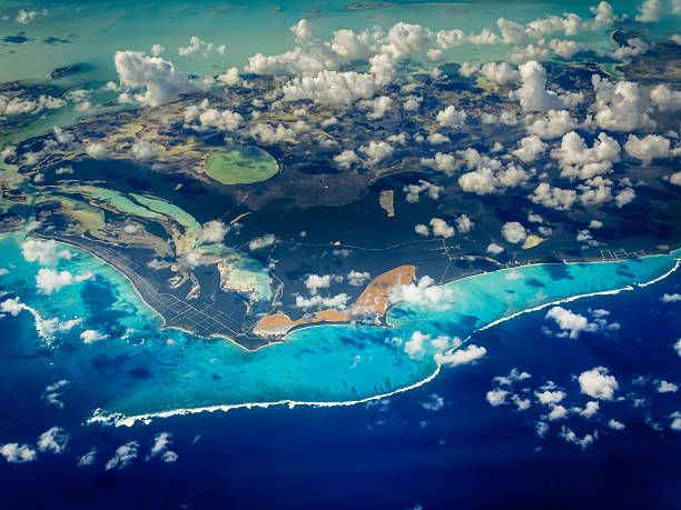 Aerial view of Caribbean islands stock photo