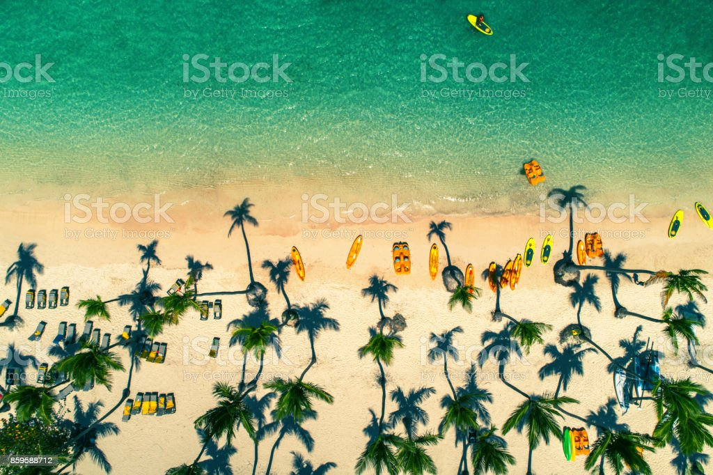 Aerial view of caribbean resort Bavaro, Dominican Republic stock photo