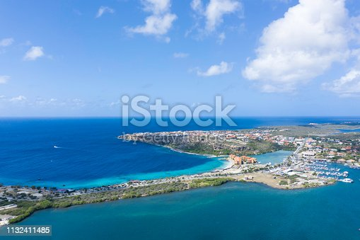Aerial View of Caribbean Sea and Cityscape in Curacao