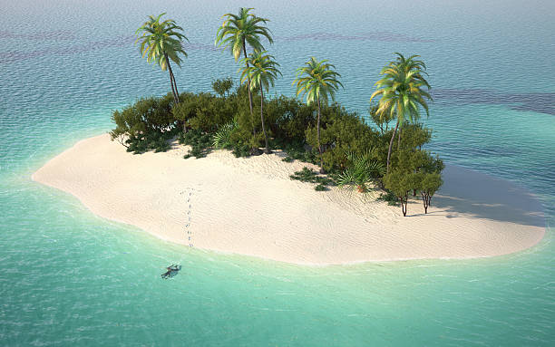 aerial view of caribbeanl desert island - desert island stock photos and pictures