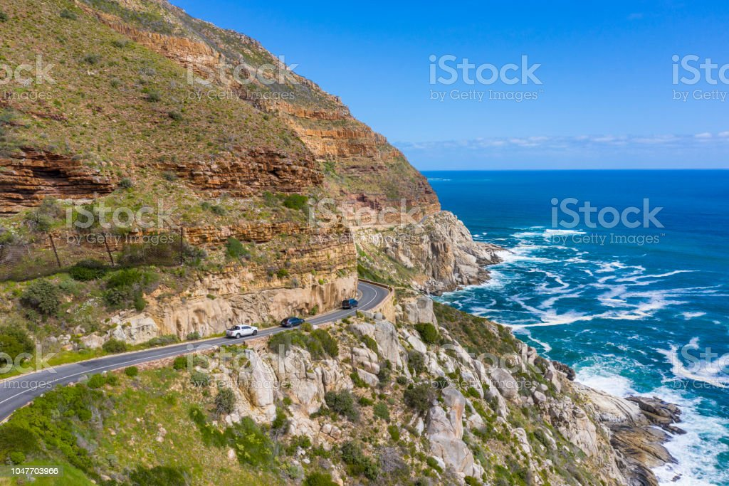 Aerial view of cars in Chapman's Peak Drive stock photo