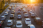 istock Aerial view of cars in traffic 159406920