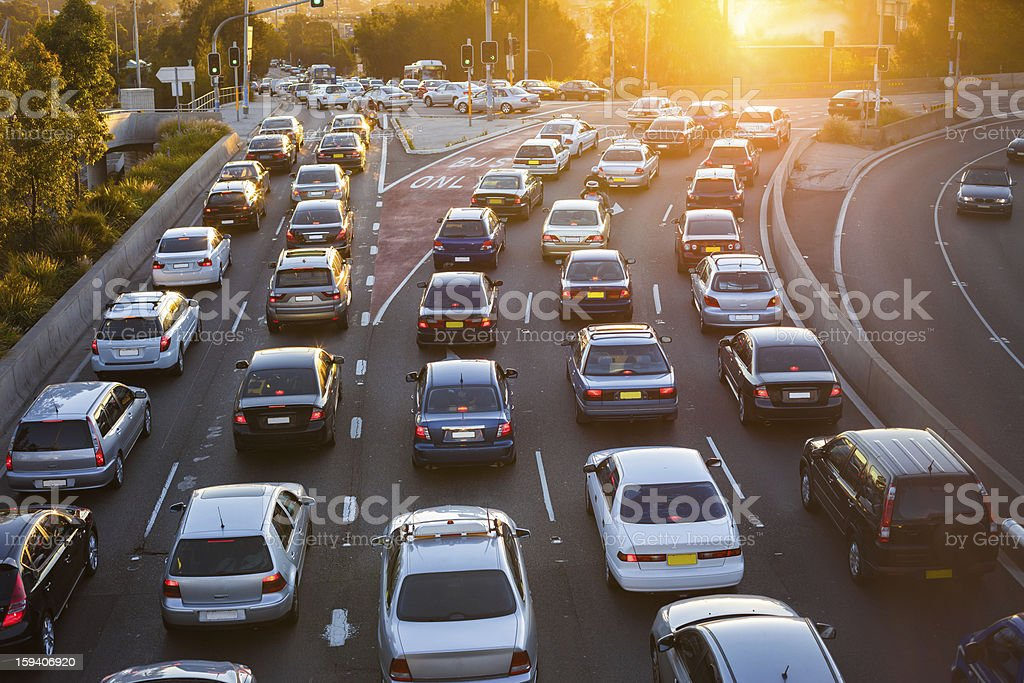 Aerial view of cars in traffic stock photo