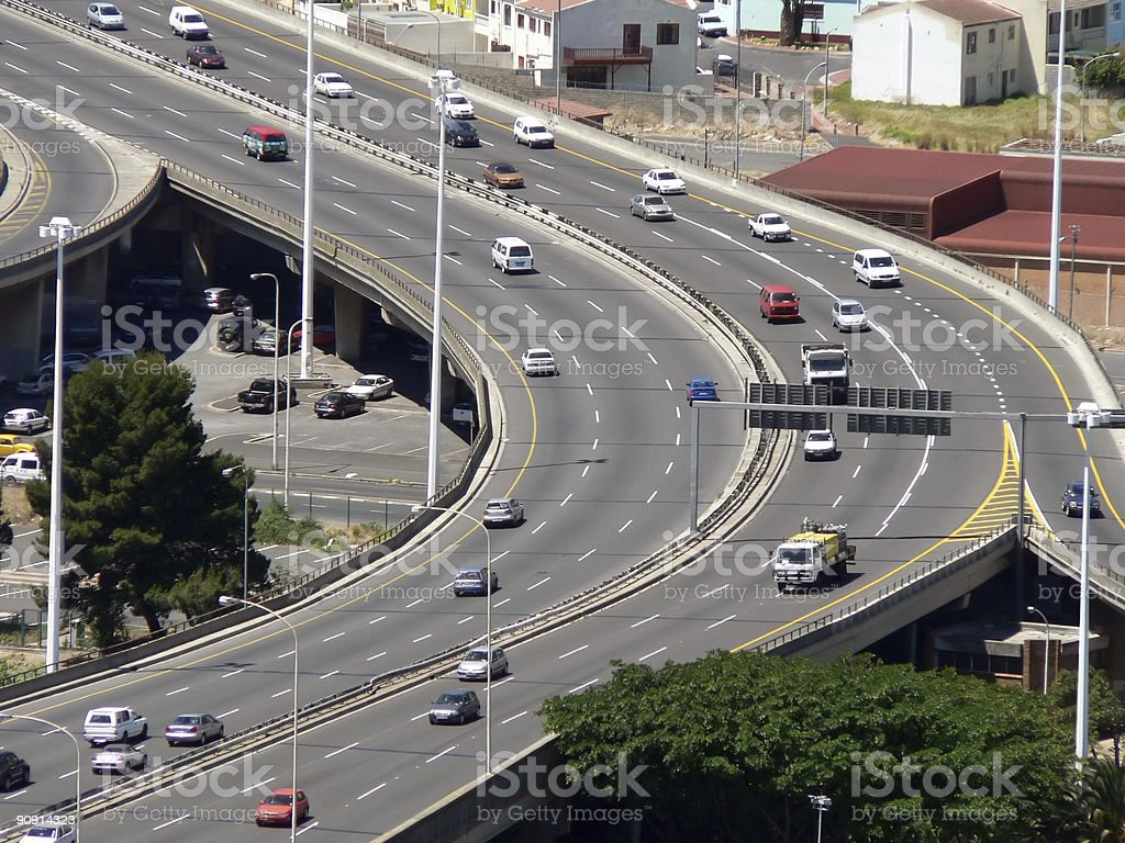 Aerial view of cars on a six-lane highway stock photo