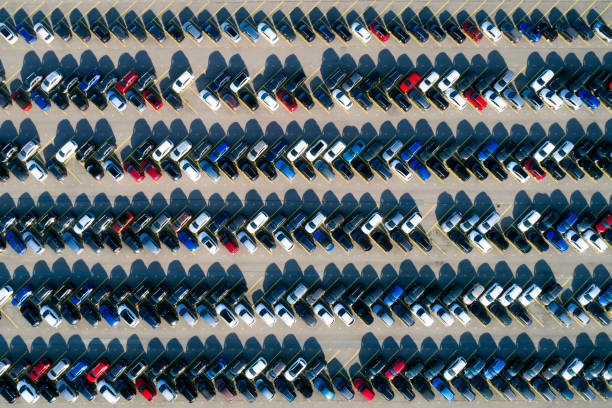 Aerial view of cars stock photo