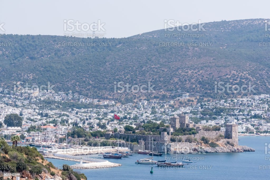 Aerial view of Castle of St. Peter,Bodrum Castle,and Marine in Bodrum zbiór zdjęć royalty-free