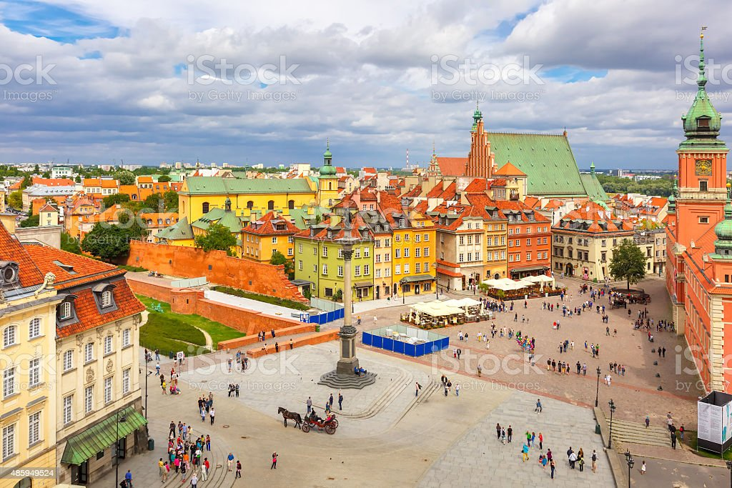 Aerial view of Castle Square in Warsaw, Poland stock photo