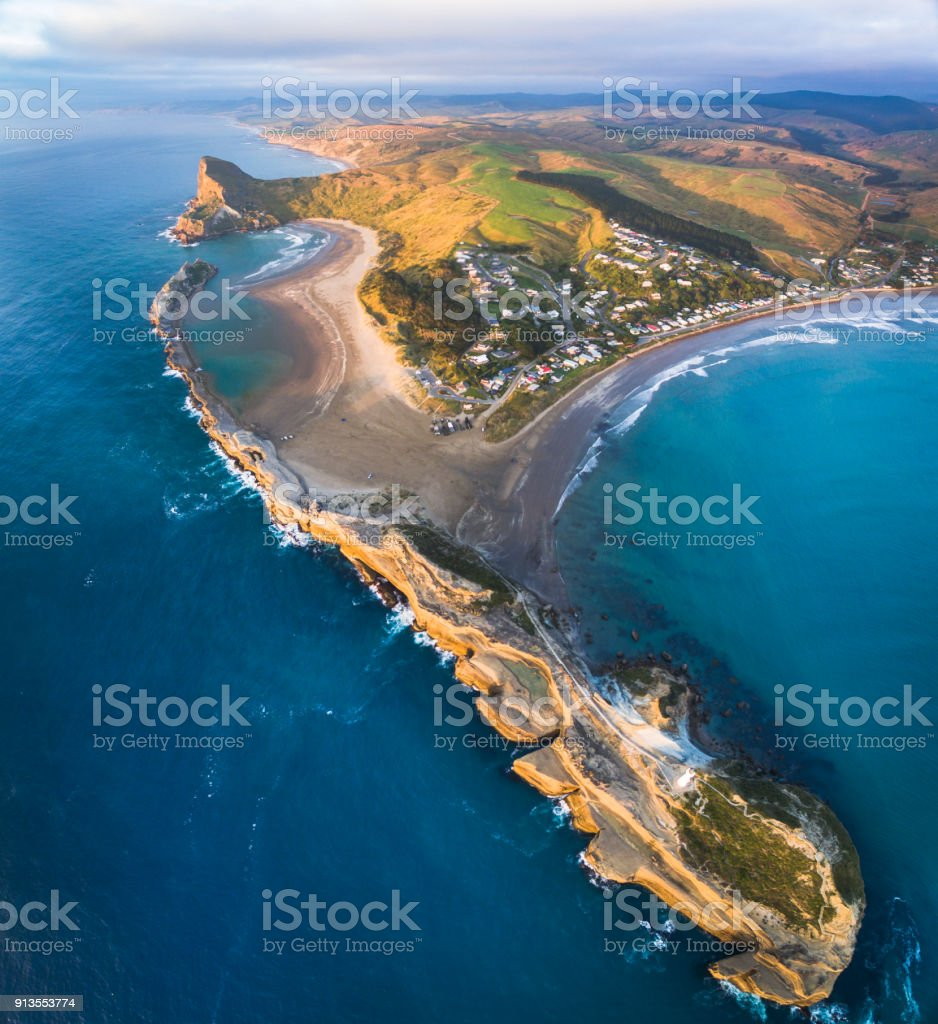 Aerial view of Castlepoint just after sunrise. stock photo