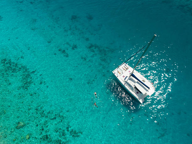 aerial view of catamaran anchored in tropical caribbean - katamaran bildbanksfoton och bilder