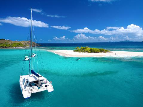 Aerial view of Catamaran at Sandy Spit, British Virgin Islands, Caribbean