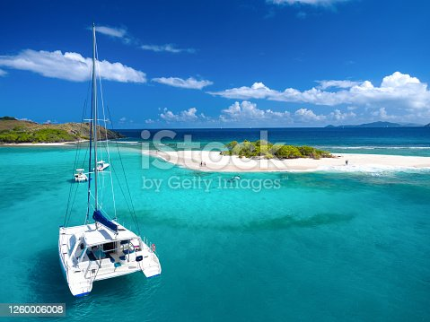 Aerial view of Catamaran at Sandy Spit, British Virgin Islands, Caribbean