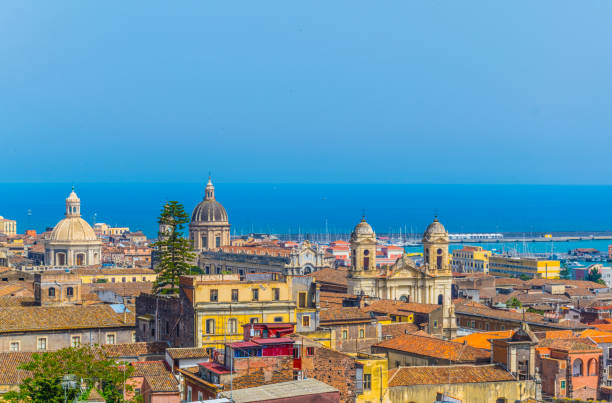 Aerial view of Catania, Sicily, Italy Aerial view of Catania, Sicily, Italy catania stock pictures, royalty-free photos & images