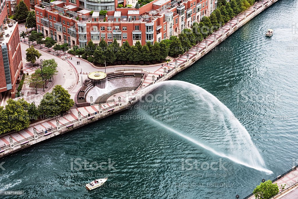 Aerial view of  Centennial Fountain and water jet, dowtown Chica stock photo
